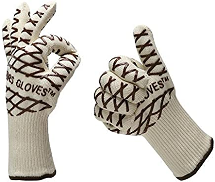 Wonepo Revolutionary 350°C (640°F) Extreme Heat Resistant,Magic Oven Glove Hot Surface Handler (PAIR),Light-Weight & Flexible Heat & Flame Resistant Oven Gloves - Coffee