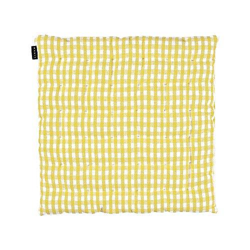 Linum OSBY Traditionell Sitzkissen Stuhlkissen für Stuhl Garten Küche Waschmaschinenfest, Cotton, Senfgelb, 40 x 40 cm