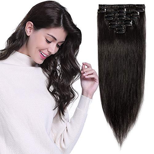 Extension Clip Capelli Veri Nere 40cm -#1B Nero Naturale- 8 Ciocche 100% Remy Human Hair Capelli Naturali Lisci