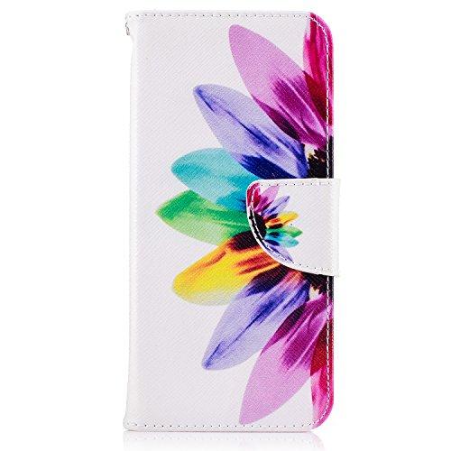 Fundas Samsung S8 Plus Tapa de Falsa Piel Girasol, Fundas Samsung S8 Plus Libro Iman con Tarjetero, Funda Impreso para Samsung Galaxy S8 Plus Antigolpes Mujer