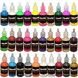 30 Pinturas para Tela - 30 Colores brillantes diferentes - Incluye neón, fluorescente, Brillo en la oscuridad y más - Ideal para textiles, telas, camisetas, lonas, madera, cerámica y vidrio.
