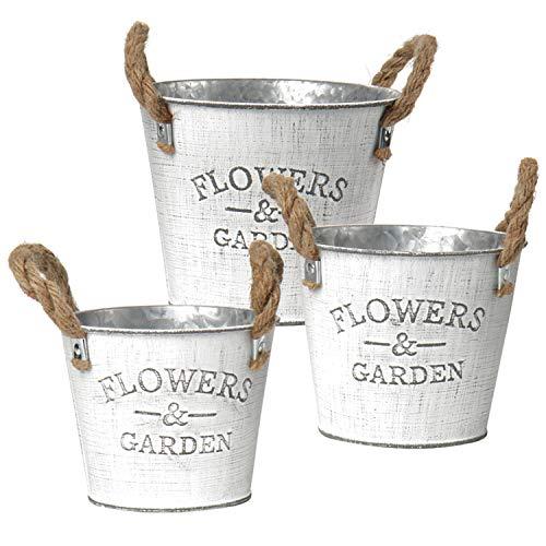 Set 3 Planter Flower Pots Galvanized Planters Vintage Windowsill Planter for Succulents Herbs Arts and Crafts Farmhouse Decor & Kitchen Organizers Outdoor & Indoor