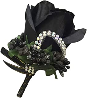 Cupcinu Wedding Rose Boutonniere Corsage for Groom Artificial Boutonniere Bouquet Perfect for Wedding Prom Party (Black)