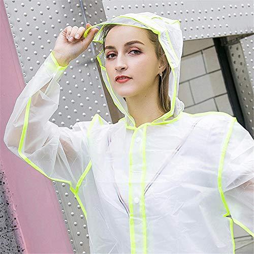 YUEHOME Transparenter Regenmantel PVC Vinyl Wasserdichter Regenmantel Outdoor Travel Runway Poncho Regenmantel mit Kapuze Damen Rainwear-4