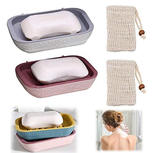 WELLXUNK Seifen Halter,2Stk Seifenschale mit 2Stk Leinen Seifensäckchen,Verhindert Seifenreste auf Ihrer Waschbeckenablage Für Bad Waschbecken