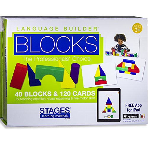 Stages Learning Materials Language Builder Block Imitazione Kit per la Formazione autismo & Preschool 120 Giochi di Carte, 40 Blocchi di Legno, iPad App