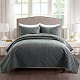 Ponvunory King Size Dark Grey Quilt Set for King Bed - Super Soft Lightweight Microfiber Plaid Checked Pattern Bedspreads & Coverlets - 3 Pieces(Includes 1 Quilt, 2 Shams)