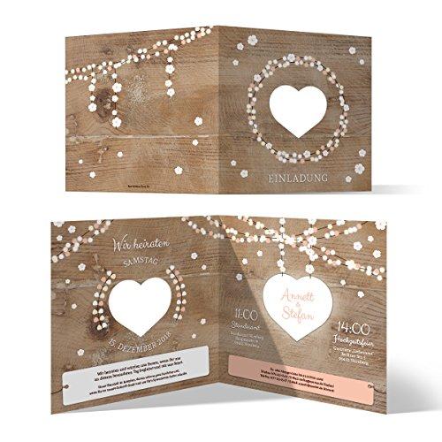 10 x Lasergeschnittene Hochzeit Einladungskarten Hochzeitseinladungen - Holz Lichtgirlande