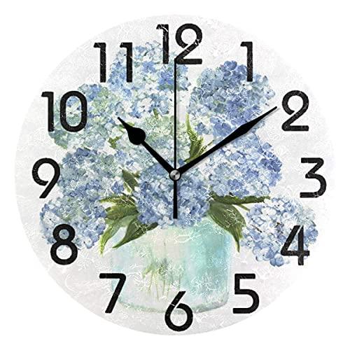 ZHENGYUAN Vintage Bottle Ngea Flowers Silent Non-Ating - Reloj de pared redondo de madera, 25,4 cm, cocina, dormitorio, oficina, escuela decoración