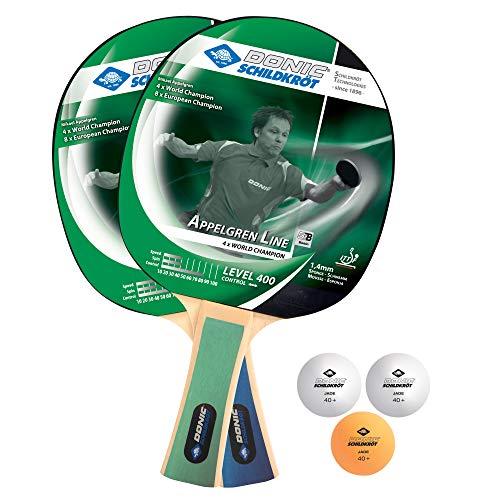 Donic-Schildkröt Tischtennis-Set Level 400 für 2 Spieler (2 Schläger 1,4 mm Schwamm, 3 Bälle, im Blister, gute Freizeitqualität), 788638