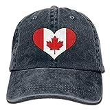 Ahdyr Gorra de béisbol Unisex Gorra de Mezclilla teñida en Hilo Bandera de Canadá Gorra de Cricket Ajustable con...