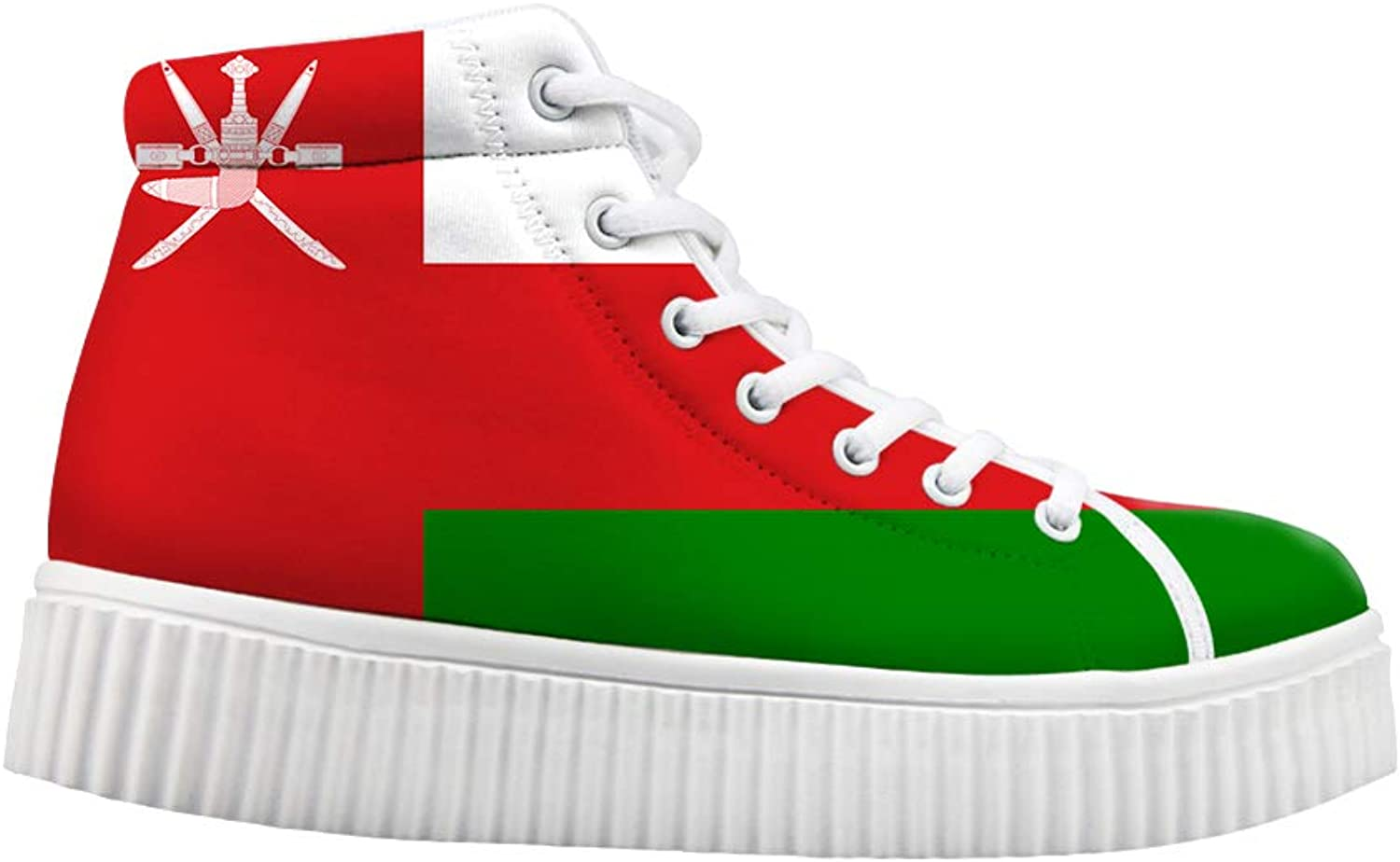 Platform Lace up Sneaker Casual Chunky Walking shoes Women Oman Flag