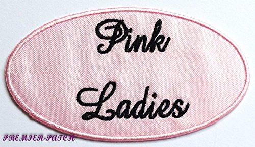 """Aufnäher mit Motiv """"Pink Ladies"""", bestickter Patch zum Aufbügeln oder Aufnähen, rosa, 9 cm, für Kostüm um Stil von """"Grease"""", 1950er, Cosplay, Junggesellinnenabschied, Party-Souvenir"""