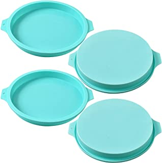 Newk Silicone Round Cake Mold, 4 Packs 8 Inch Silicone Disc Like Mold for Layer Cakes, Cheese Cakes, Rainbow Cakes and Res...