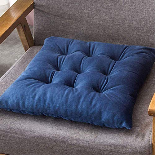 NV Solid Color Crystal Velvet Cushion Thick Warm Tatami Chair Sit Pads Office Stool Mat Driver Seat Home Decor Sitting Pillow 55x55cm Blue