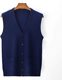 Men's Gilets V Neck Sleeveless Jumper Vest Knitwear Cardigans Cotton Casual Autumn Winter Knitted Waistcoat Sweater with B...