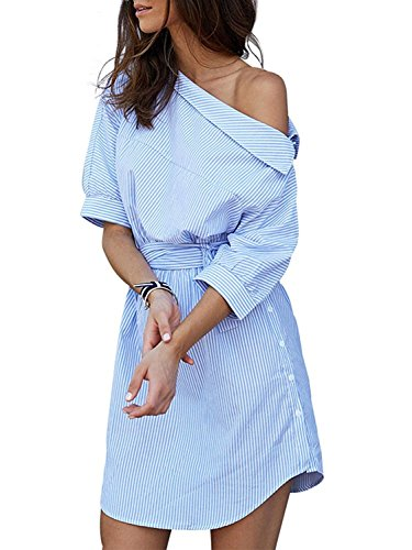 Women One Shoulder Blue Striped Elegant Waistband Casual Beach Dresses, M