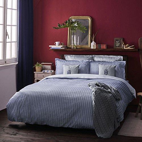 Tommy Hilfiger Juego de cama de satén Mako, diseño de rayas, 1 funda nórdica de 155 x 220 cm y 1 funda de almohada de 80 x 80 cm