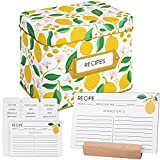 Lemon Recipe Box with 60 Recipe Cards 4x6 - with 15 Recipe Card Dividers and Wooden Recipe Card Holder | Recipe Card Box, Recipe Tin, Recipe Organizer | Lemon Kitchen Decor Recipe Box with Cards 4 x 6