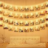 Luci Clip Foto, massway 6M 40 LED Striscia Foto Clip Luce Bianca Calda Luci LED con Foto Mollette per Decorazione Camere Festa di Matrimonio Compleanno