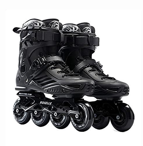 TongNS1 Inline-Skates für Kinder und Erwachsene, Klingen Rollschuhe für Mädchen, Jungen und Jugendliche,Frauen und Männer ABEC-7 Lager Bequem und atmungsaktiv black,size39