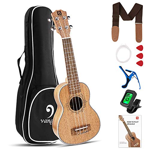 Soprano Ukulele Starter Kit Mahogany 21 Inch Ukulele for Kids Beinngers with Gig Bag and Fast Learn Guide Book, by Vangoa