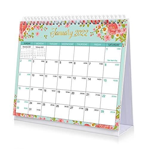 NUOBESTY Floral 2022 Desk Calendar- Standing Flip 2022 Desktop Calendar Monthly Desktop Planner 12 Month Academic Desktop Calendar with Memo List for Teachers, Family or Business Office