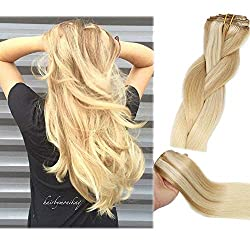 Clip in human hair blonde extensions