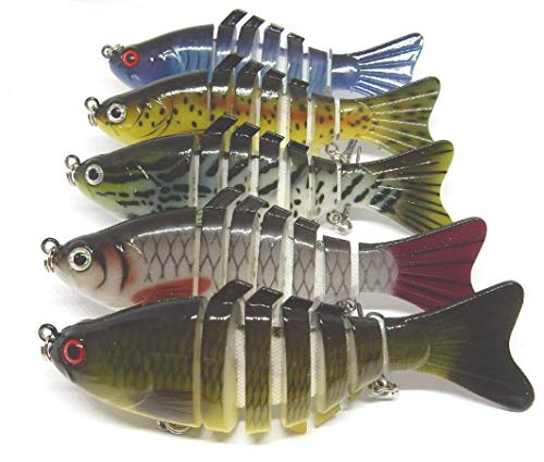 Fishing Lures for Bass, Trout 7 Segment Multi Joint swimbait 5 Pack and Box. Slow Sinking Bionic Swimming Lures with 3D Eye Design. Lifelike. Suit Freshwater, seawater bass, Trout, Crappie