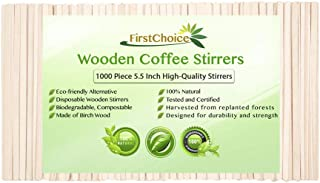 Disposable Wooden Coffee Stirrers 5.5 Inch Length Round Corners Eco Friendly Biodegradable Compostable Wooden Coffee Stirrers By First Choice (1000 Stirrers)