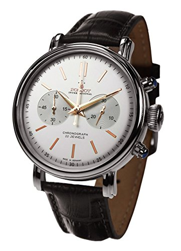 POLJOT Cronógrafo Reloj de hombre 'Classic' Cuerda Manual mecánico banda de piel Russian Watch
