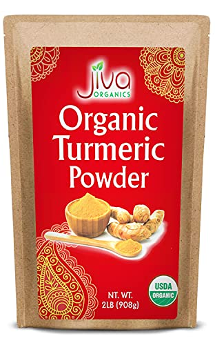 Jiva Organic Turmeric Powder - 2 Pound in Resealable Bag, 100% Raw with Tumeric Powdered Organic, Turmeric Curcumin Powder, Origins from India
