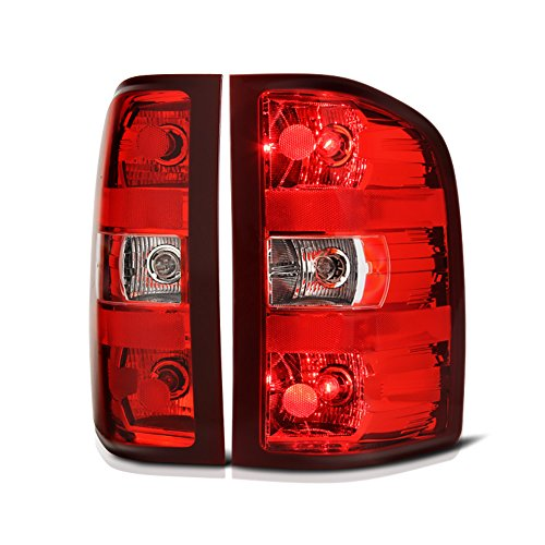 Driver + Passenger Side OE-Style Red Lens Tail Light Housing Lamp Assembly Replacement For 2007-2013 Chevy Silverado 1500 2500HD 3500HD Pickup Truck