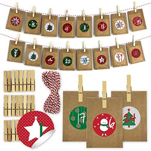 Papierdrachen Calendario de Adviento de Bricolaje para el llenado - Calendario de té para Colgar con 24 Pegatinas de números y Soportes - Ajuste 1 - Calendario para los Amantes del té - Navidad 2019