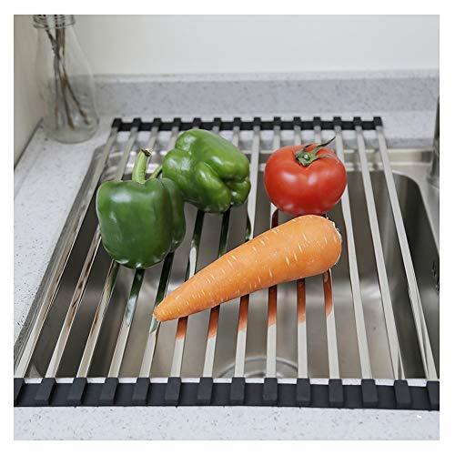 GLFZWJ 304 roestvrij stalen afdruiprek, inklapbaar, voor groenten, fruit, servies, opslag in rek