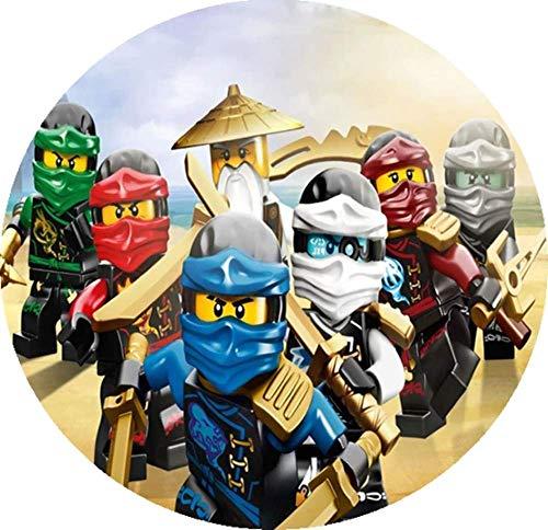Lego Ninjago Tortenaufleger, Runde 20CM - Geburtstag Tortenbild Zuckerbild Tortenplatte Oblate Kuchenzuckerplatte