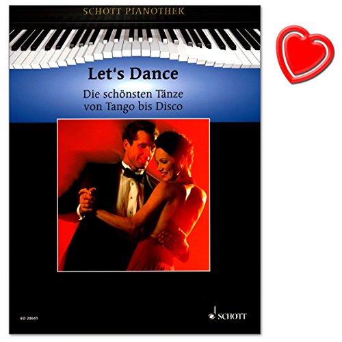 Let's Dance - mooiste dansen van Tango tot Disco - 30 hits uit de totale bandbreedte van popmuziek in goed speelbare arrangementen - noten voor piano met kleurrijke hartvormige muziekklem