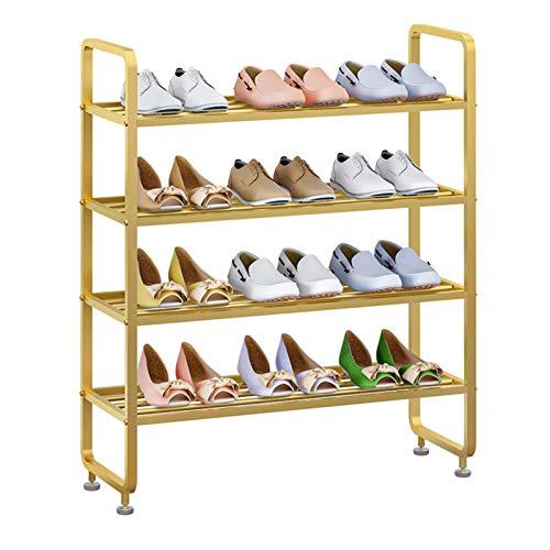 Fanuosuwr Zapatero Duradero Estantería de la Torre de Zapatos metálicos Rack de Zapatos de 4 Capas. Diseño Estable (Color : Gold, Size : 60x28x70cm)