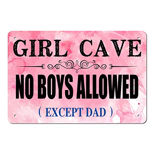 ManruleUS Room Decor for Teen Girls Aesthetic Metal Tin Sign Girl Cave No Boys Allowed 12x8 inches (Girl Cave 1)