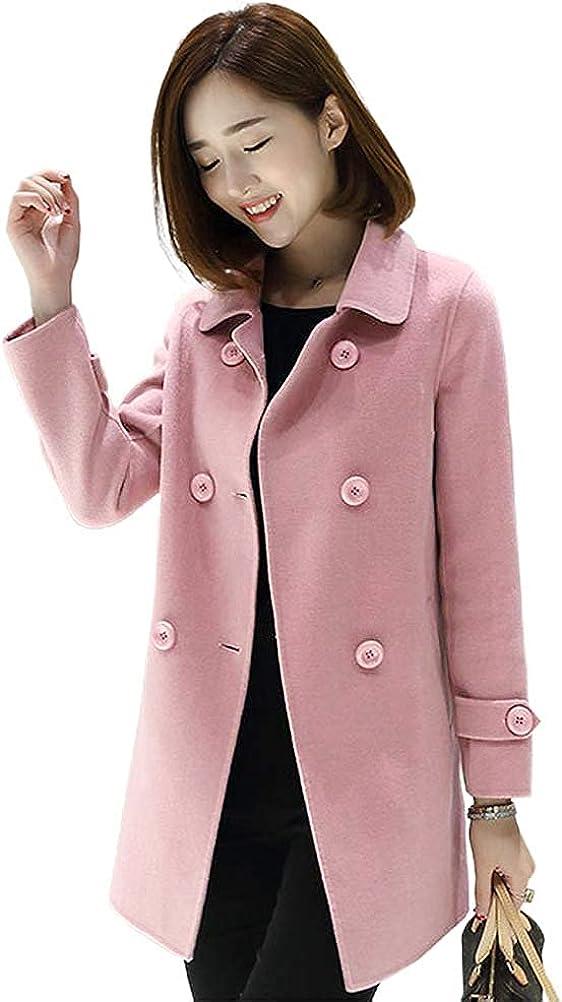 IDEALSANXUN Wool Coat for Womens Double Breasted Peacoat Outwear