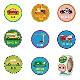 RORANIC Cars and Trucks Stickers Roll. 1 Inch 500 Count Reward Stickers for Kids in 8 Designs. School Stickers Rolls. Teacher Supplies for Classroom, Potty Training Stickers, Motivational Stickers