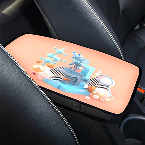 LWZY Waterproof Car Armrest Cover Blue Microscope Among Colorful Balls On Universal Auto Center Console Cover Pad Console Armrest Cover Armrest Seat Box Cover,fit for for SUV/Truck/car