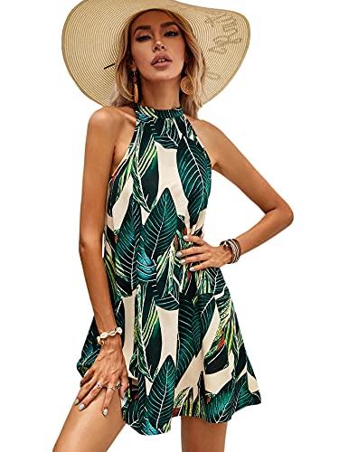 Floerns Women's Summer Floral Print Sleeveless Halter Neck Beach Party Dress Green Tropical XS