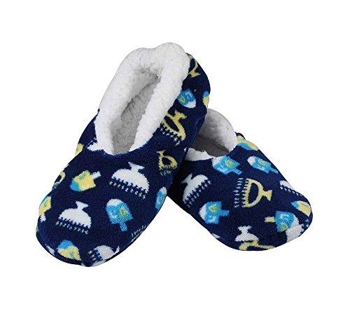 Zion Judaica Hanukkah Snuggle Slippers (Bigger Kids Shoe 1-5)