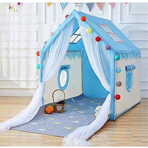 GJQDDP Tent for Kids, Foldable Children Play Tent Children's tent indoor play house boy toy girl princess room baby house bed home small castle,Blue