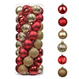 Valery Madelyn 50ct 60mm Luxury Red Gold Shatterproof Christmas Ball Ornaments Decoration,Themed with Tree Skirt(Not Included)