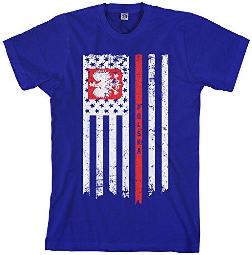 Threadrock Men's Poland USA Polish American Flag T-Shirt 2XL Royal Blue
