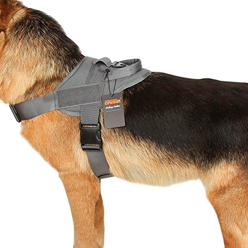 EXCELLENT ELITE SPANKER Tactical Dog Vest Training Military Patrol K9 Service Dog Harness Adjustable Nylon Dog Harness with Handle(Grey-S)