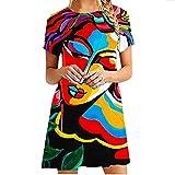 Wtinfer Vestidos de verano para las mujeres de la impresión de la moda casual de manga corta con cuello en V sueltos vestidos