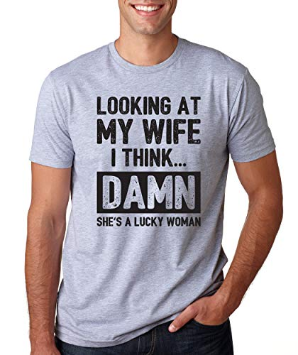 SignatureTshirts Men's Looking at My Wife She's a Lucky Woman Funny Valentine's Day t-Shirt Sport Grey
